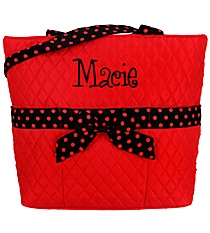 Red and Black Quilted Diaper Bag #TW2121-RED/BK