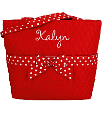 Red and White Quilted Diaper Bag #TW2121-RED/WH