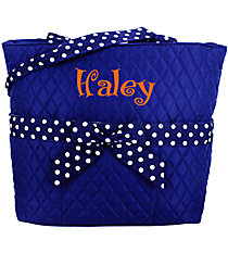Royal Blue and White Quilted Diaper Bag #TW2121-ROY/WH