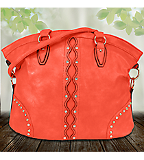 Crystal Studded Wavy Coral Leather Shoulder Bag #RA7018COR-CORAL
