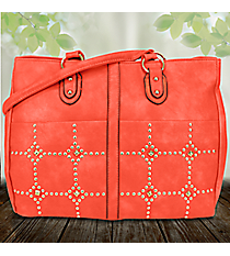 Gold Studded Coral Leather Dual Pocket Satchel #RA7020-CORAL
