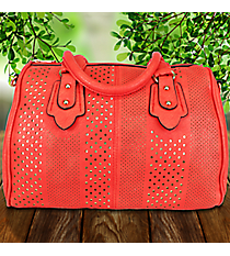 Red Leather Cut-Out Metallic Dots Satchel #RA7021-REDOut Metallic Dots Satchel #RA7021-MINTGN