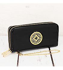 Black Faux Patent Leather Organizer Clutch Wallet #RAWGZ-7345-BK