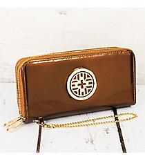 Brown Faux Patent Leather Organizer Clutch Wallet #RAWGZ-7345-BW