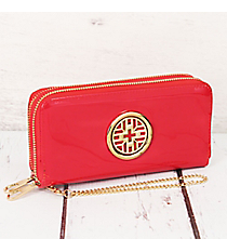 Red Faux Patent Leather Organizer Clutch Wallet #RAWGZ-7345-RD