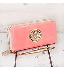 Pink Faux Patent Leather Organizer Clutch Wallet #RAWGZ-7345-PK