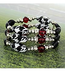 Houndstooth, Black, and Crimson Beaded Stretch Bracelet #RB2053-RH
