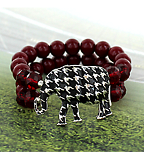 Houndstooth Elephant Beaded Stretch Bracelet #RB2058-RH