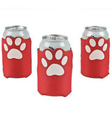 One Dozen Red Paw Print Koozies #3/6319