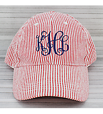Red Striped Seersucker Cap #SW181350