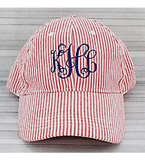 Red Striped Seersucker Cap #SW181350