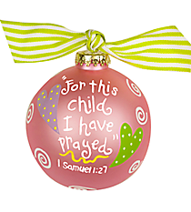"4.5"" Pink ""1 Samuel 1:27"" Glass Keepsake Ornament with Gift Box #RELIG-PRYD-PK"