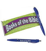 "Pack of 6 Plastic Religious ""Books Of The Bible"" Scroll Pens #36/2505"