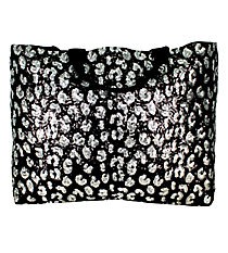 Black and Silver Sequined Large Shoulder Tote #REQ678-BLACK
