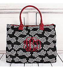 Houndstooth Bow Ties Quilted Large Shoulder Tote with Burgundy Trim #RHE3907-BURGUNDY