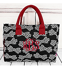 Houndstooth Bow Ties Wide Tote Bag with Burgundy Trim #RHE581-BURGUNDY