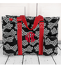 Houndstooth Bow Ties with Burgundy Trim Large Organizer Tote #RHE733-BURGUNDY