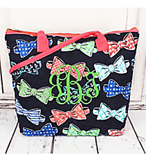 Fanciful Bow Ties Quilted Shoulder Bag with Coral Trim #RIB1515-CORAL