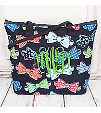 Fanciful Bow Ties Quilted Shoulder Bag with Navy Trim #RIB1515-NAVY