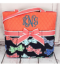 Fanciful Bow Ties Quilted Diaper Bag with Coral Trim #RIB2121-CORAL