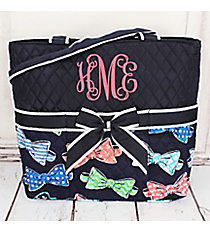 Fanciful Bow Ties Quilted Diaper Bag with Navy Trim #RIB2121-NAVY