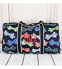 "Fanciful Bow Ties Quilted Duffle Bag with Navy Trim 21"" #RIB2626-NAVY"