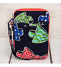 Fanciful Bow Ties with Coral Trim Quilted Wristlet #RIB495-CORAL