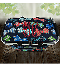 Fanciful Bow Ties Collapsible Insulated Market Basket with Lid #RIB658-NAVY