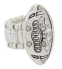 Crystal Football Stretch Ring #AR0297-ASC
