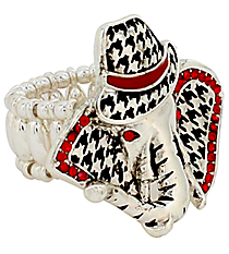 Red Crystal Houndstooth Elephant with Fedora Stretch Ring #AR0366-ASR