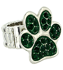 Emerald Crystal Paw Print Stretch Ring #QR1181-EME