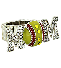 "Crystal Silvertone ""MOM"" Softball Stretch Ring #QR1183-RH"