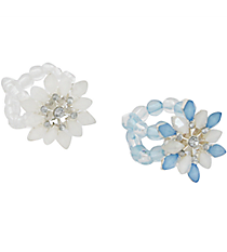 One Snowflake Stretch Ring #X-BITTY-SHIPS ASSORTED
