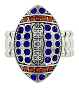 Navy and Orange Crystal Football Stretch Ring #48202-NV/OR