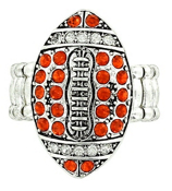 Orange and Clear Crystal Football Stretch Ring #48147-OR/CL