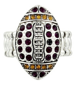 Purple and Gold Crystal Football Stretch Ring #48167-PU/GD