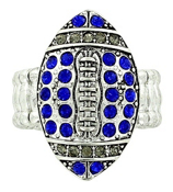 Blue and Gray Crystal Football Stretch Ring #48198-BL/GY