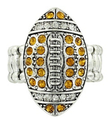 Yellow and Clear Crystal Football Stretch Ring #47995-YE/CL