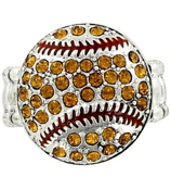 Yellow Crystal Softball Stretch Ring #47862-SOFTBALL