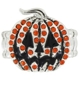 Crystal Accented Jack-O'-Lantern Stretch Ring #48018-JCKOLNTRN