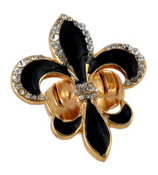 Crystal Accented Black and Goldtone Fleur de Lis Stretch Ring #R82X159