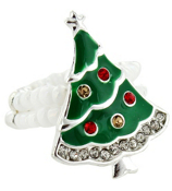 Crystal Accented Christmas Tree Beaded Stretch Ring #AR0302-SMX
