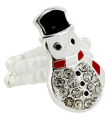 Crystal Accented Snowman Beaded Stretch Ring #AR0301-SMX