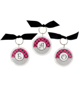 Hot Pink & Black Round Acrylic Key Tag #991 Choose your Initial