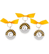 Gameday Black & Gold Round Acrylic Key Tag #991 Choose your Initial