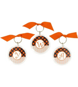 Gameday Black & Orange Round Acrylic Key Tag #991 Choose your Initial
