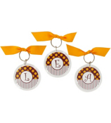 Gameday Burgundy & Gold Round Acrylic Key Tag #991 Choose your Initial