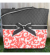 Coral Ivy Damask Quilted Diaper Bag with Gray Trim #RMC2121-CORAL
