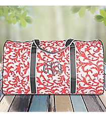 "21"" Coral Ivy Damask Quilted Duffle Bag with Gray Trim #RMC2626-CORALmetric Quilted Duffle Bag with Pink Trim #OTG2626-PINK"
