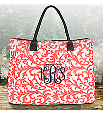 Coral Ivy Damask Quilted Large Shoulder Tote with Gray Trim #RMC3907-CORAL